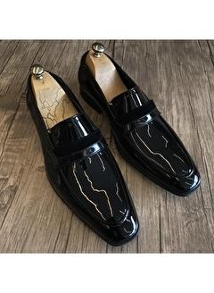 Terzi Adem 3402 İtalyan Stil Damatlık Erkek Rugan Ayakkabı Siyah T4819